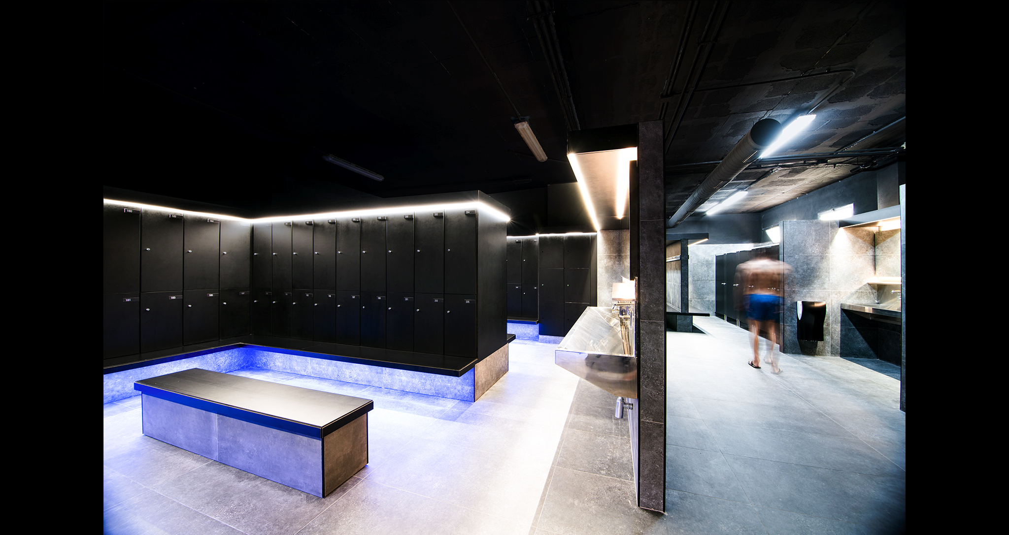 COMPLETE REFURBISHMENT OF SPORTS CLUB STADIO CHANGING ROOMS DESING BY ROCAMORA DESING AND ARCHITECTURE ELCHE ALICANTE SPAIN